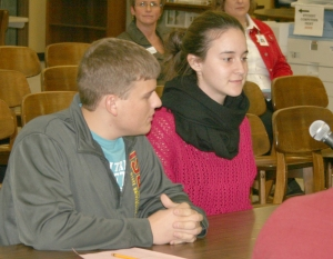 Adam Willman and Aleyna Bakirli talk about their experience at the World Food Prize Global Youth Institute Monday.