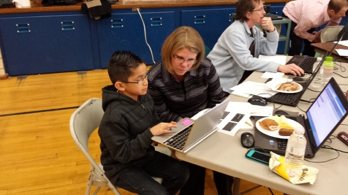 Woodbury Elementary students sat down with Board members Monday to share work they'd done using Chromebooks.